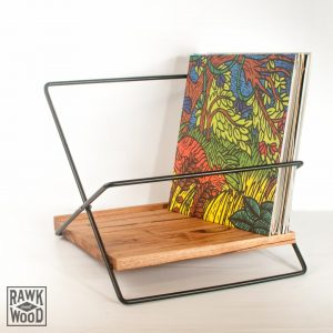 Timber-and-steel-record-rack-02, made in Melbourne by Rawk and Wood