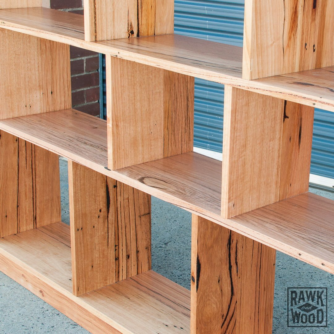 recycled-timber-bookshelf, made in Melbourne by Rawk and Wood