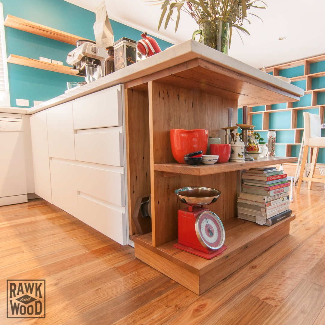 recycled-timber-kitchen-island-shelving, made in Melbourne by Rawk and Wood