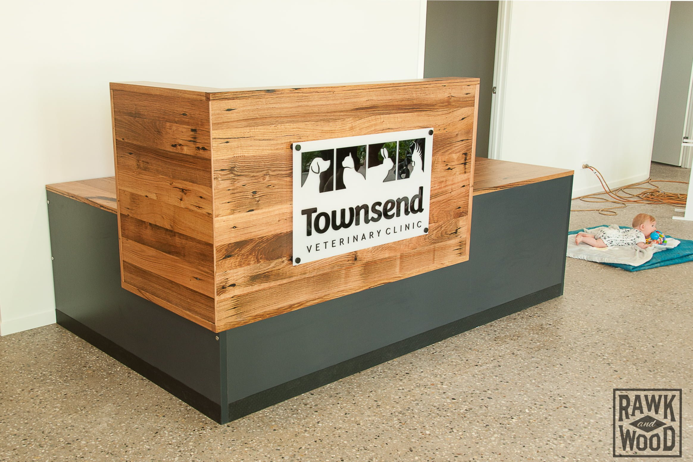 recycled-timber-reception-desk made in Melbourne by Rawk and Wood