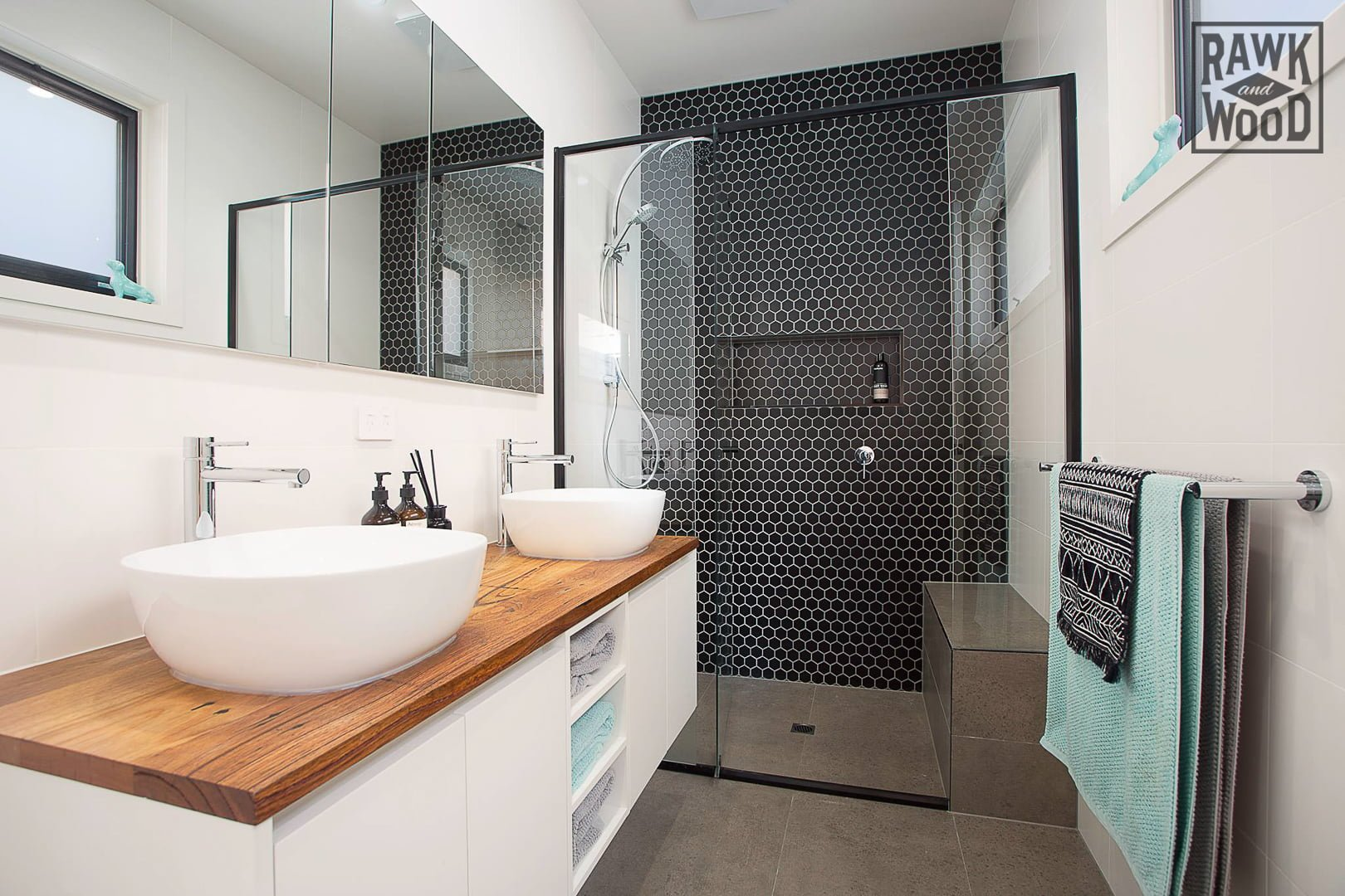recycled-timber-bathroom-vanity-benchtops, made in Melbourne by Rawk and Wood