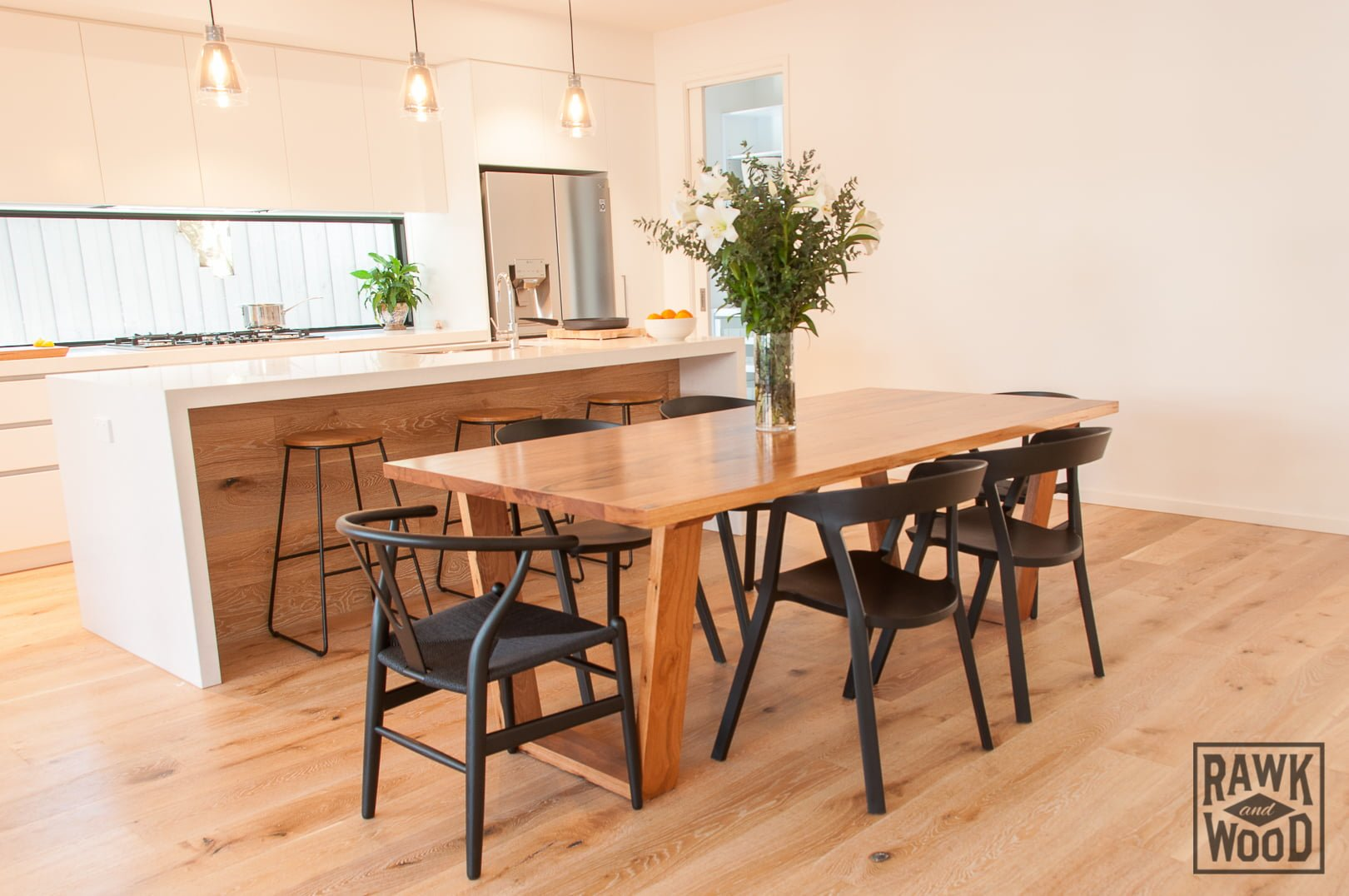 recycled-timber-dining-table, made in Melbourne by Rawk and Wood