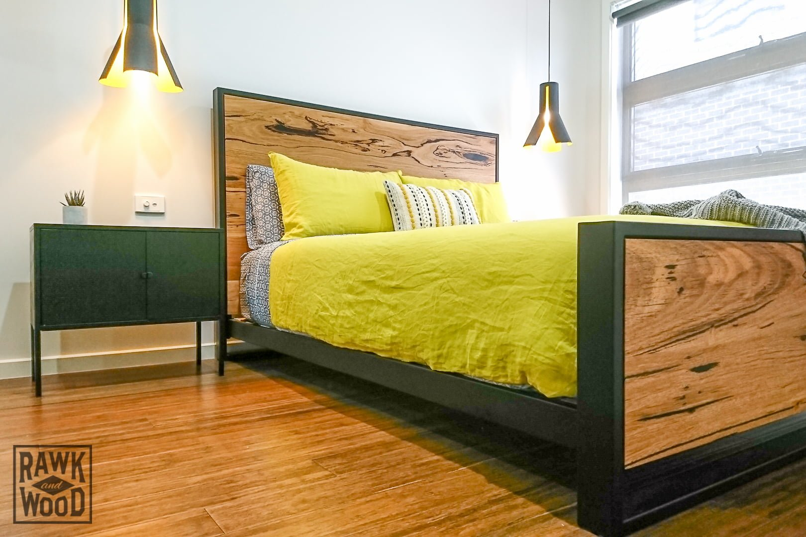 recycled-messmate-queen-bed, made in Melbourne by Rawk and Wood