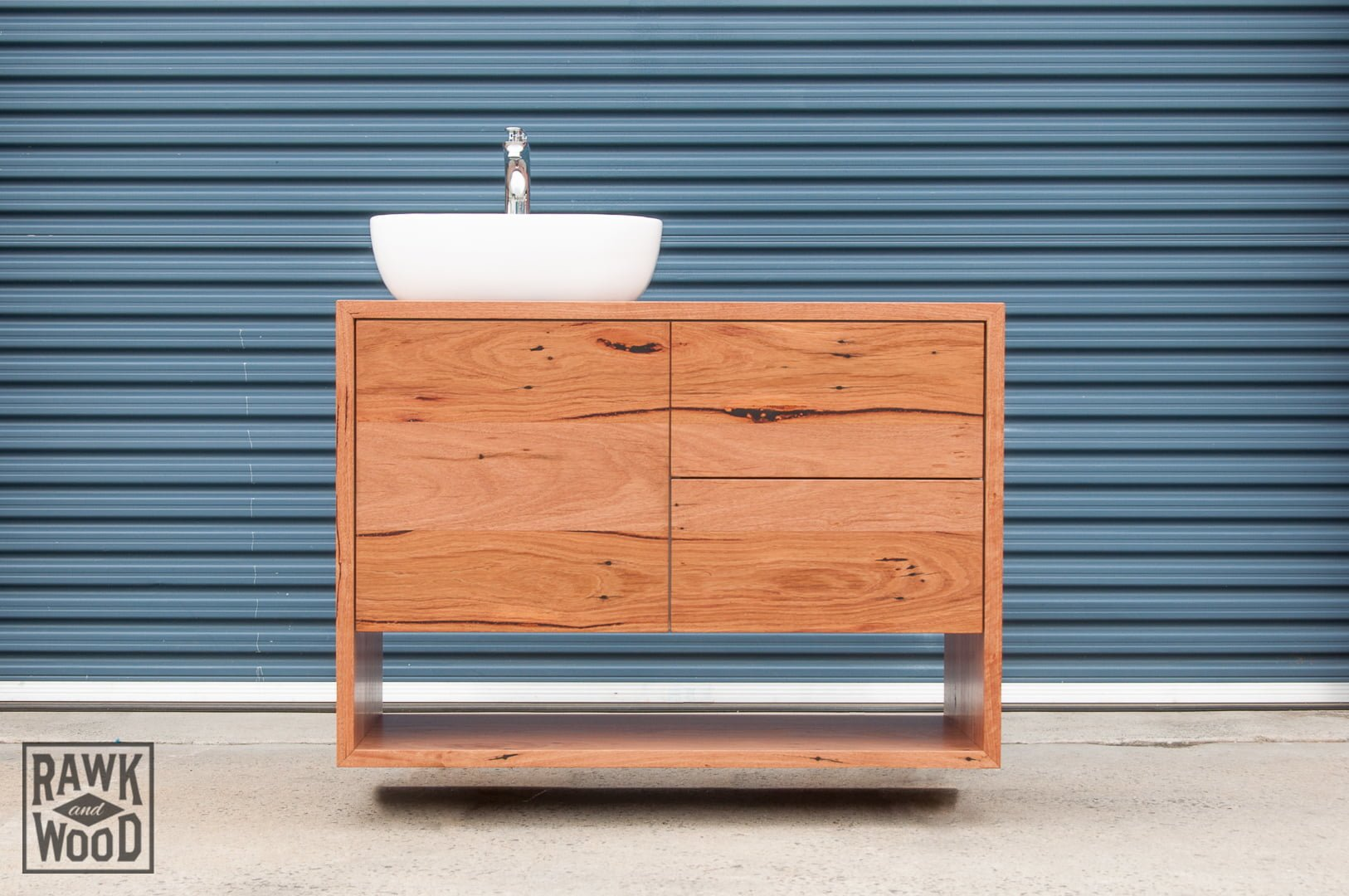 recycled-timber-bathroom-vanity, made in Melbourne by Rawk and Wood