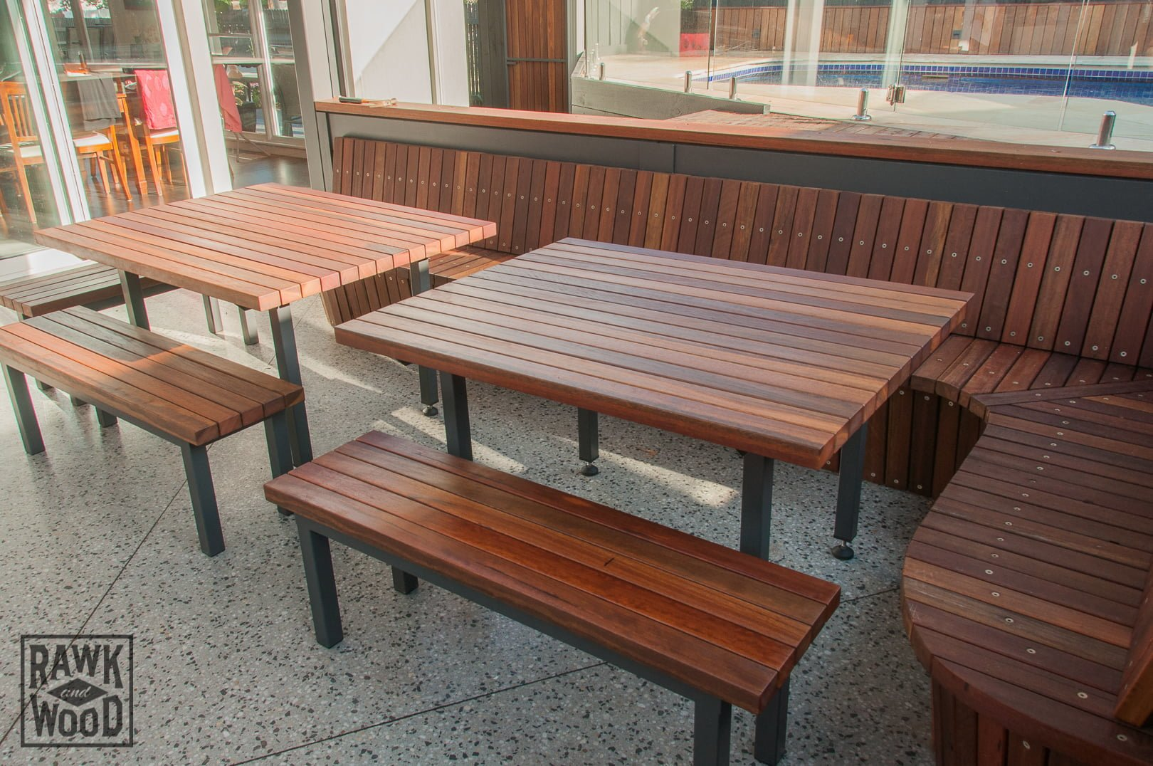 spotted-gum-outdoor-setting, made in Melbourne by Rawk and Wood