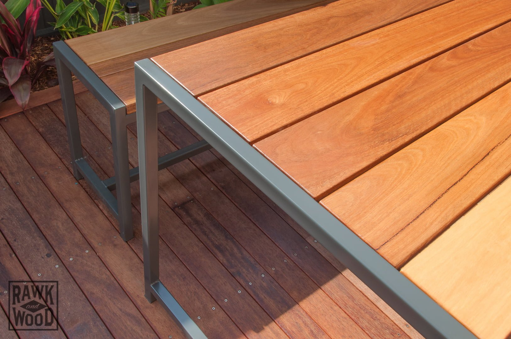 spotted-gum-outdoor-setting, custom-made in Melbourne by Rawk and Wood