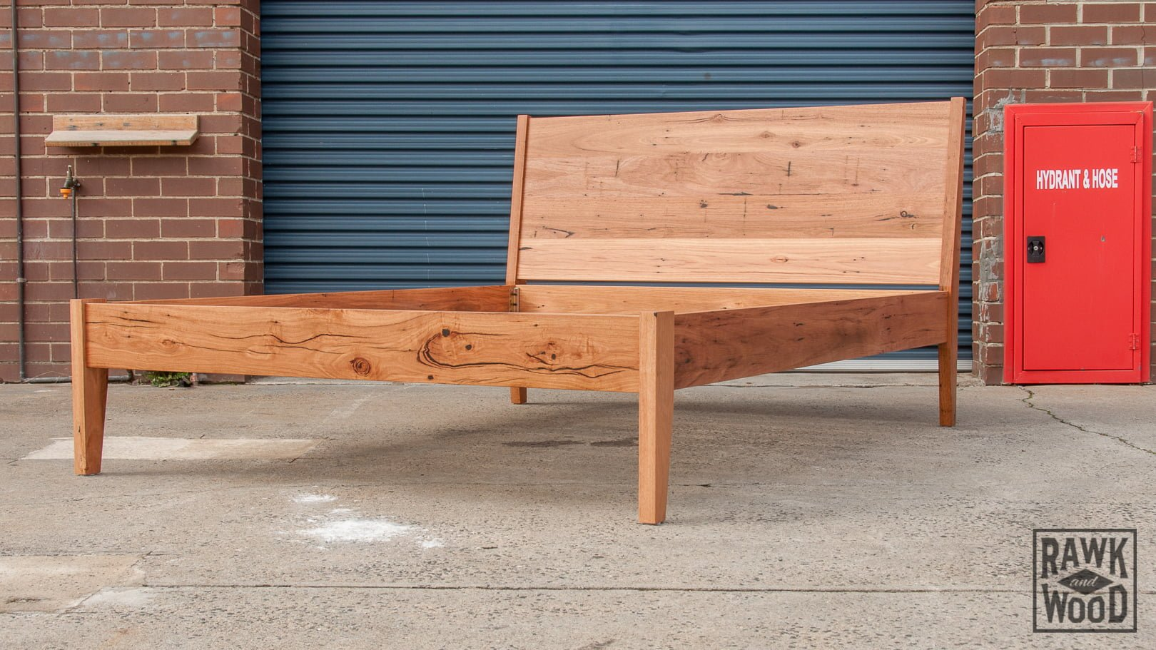 recycled-messmate-queen-bed, custom-made in Melbourne by Rawk and Wood