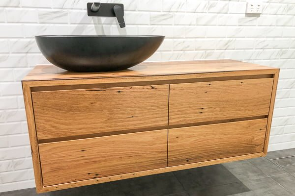 recycled-timber-bathroom-vanity, custom-made in Melbourne by Rawk and Wood