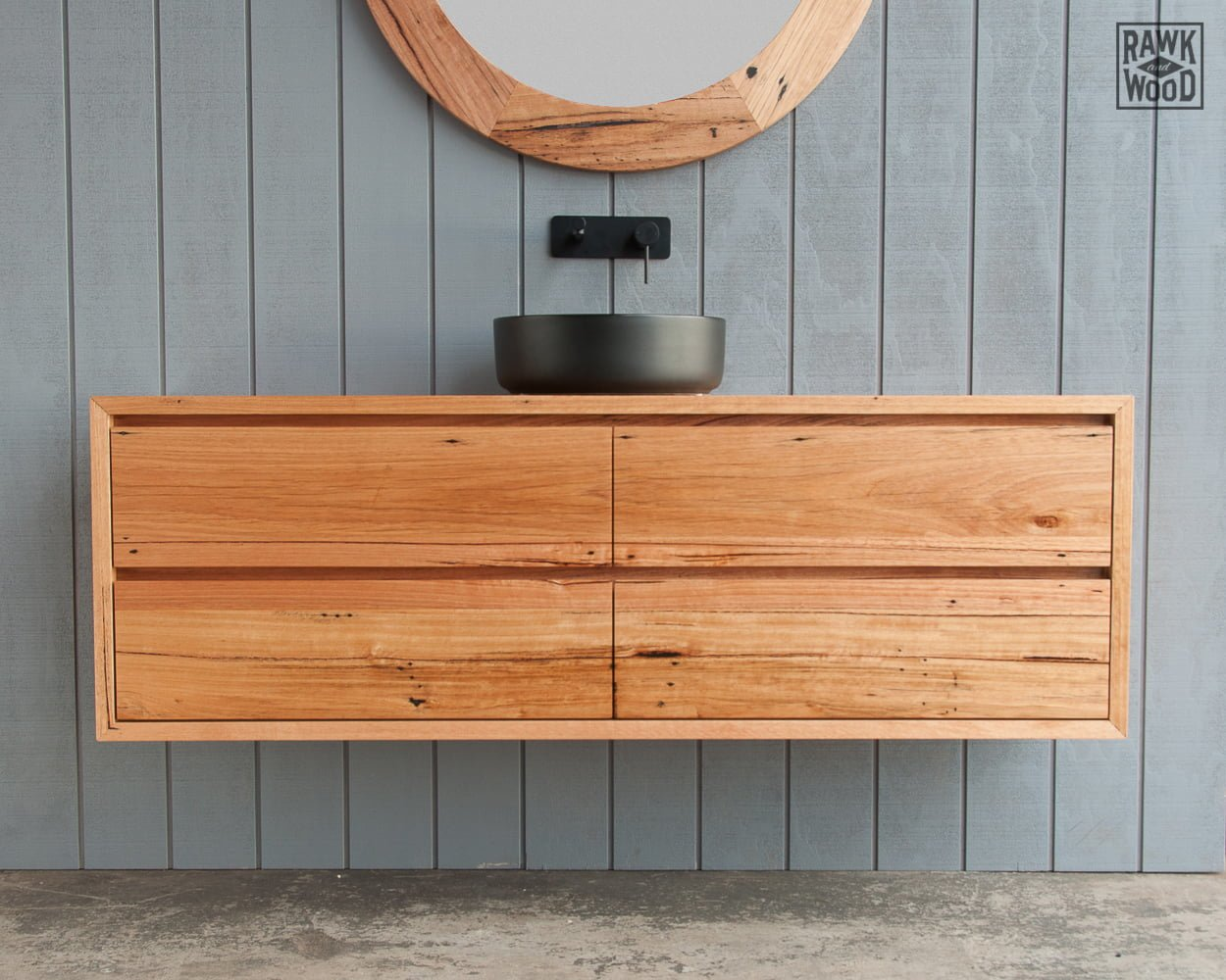 reclaimed-wood-bathroom-vanity, custom-made in Melbourne by Rawk and Wood