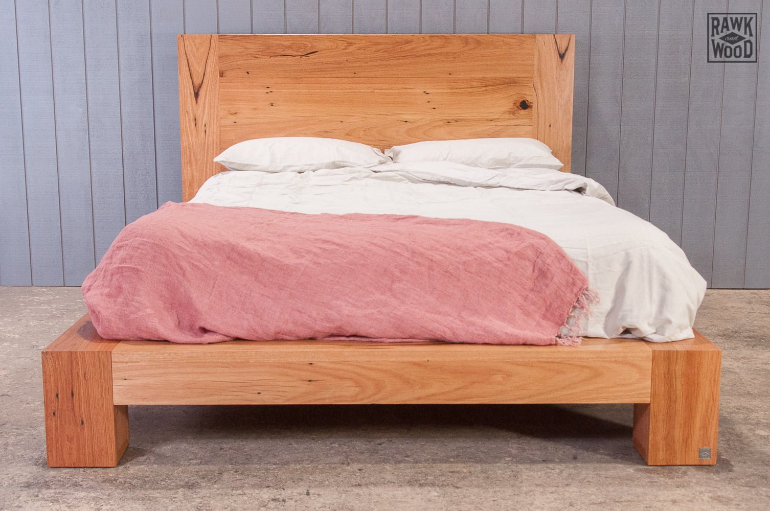 recycled-timber-queen-bed-frame, custom-made in Melbourne by Rawk and Wood
