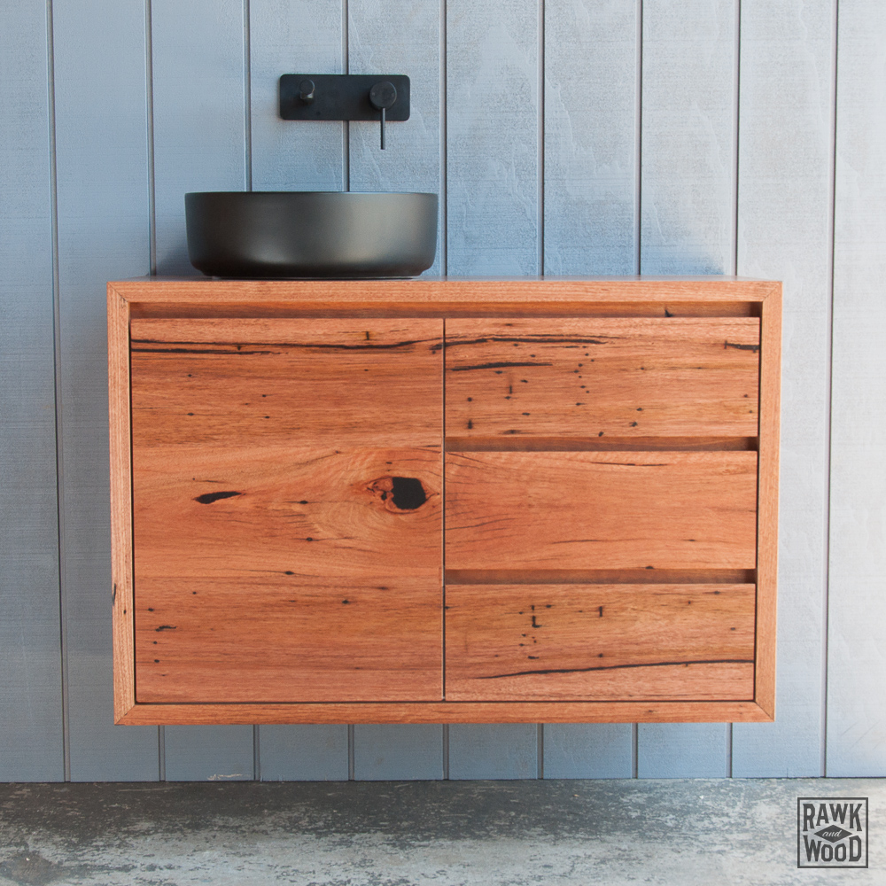 recycled-wood-bathroom-vanity, custom-made in Melbourne by Rawk and Wood