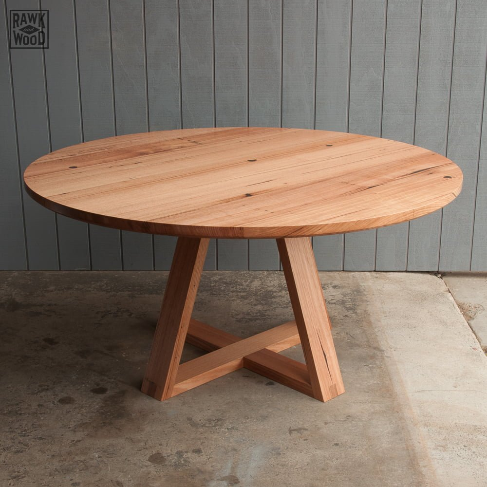 recycled-timber-round-table, made in Melbourne by Rawk and Wood